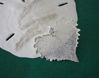 Medium Silver Leaf Necklace, Real Leaf Necklace, Cottonwood Leaf, Silver Cottonwood Leaf, LC21