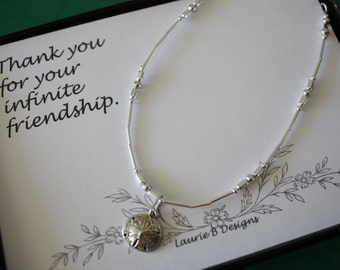 Anklet Silver Charm, Sand Dollar Charm, Sterling Silver Anklet, Choose your Charm Anklet, thank you card