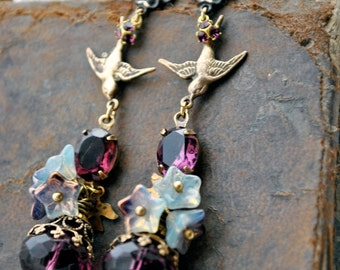 Purple Reign, Very Long Lavish Amethyst Purple Dangle Earrings with antique gold, birds, flowers, crowns and jewels, earring posts