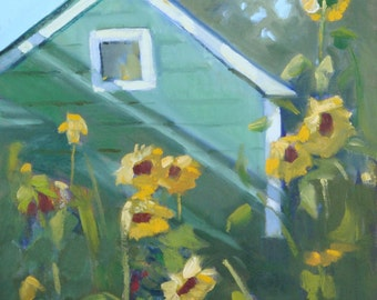 Landscape Oil Painting// Farmhouse and Sunflowers// 12 x 16 Unframed