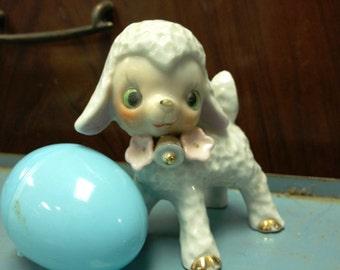 Vintage 1960's Green Eyed Lamb, Easter Lamb, Flowers, Pink Flower & Bell, Japan, retro Figurine Spring Lambs retro 60's nostalgia