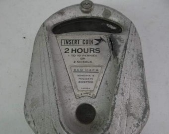 Vintage Dual Brand Parking Meter, Artifact, Home Decor, Man Cave Decoration, Gray galvanized steel,