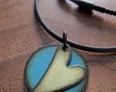 Heart Jewelry Necklace, Heart Pendant, Enamel Heart Jewelry, Green and Blue Copper Enamel Gift for Her