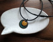 Orange and Blue Necklace,  Handmade Copper Enamel Jewelry, Is this what you were thinking