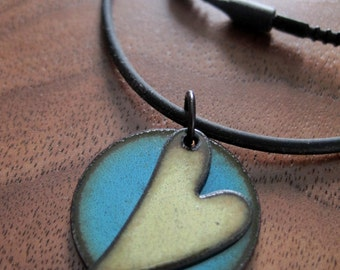 Heart Jewelry Necklace, Heart Pendant, Enamel Heart Jewelry, Green and Blue Copper Enamel Gift for Her