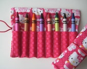 Crayon Roll Wallet Hello Kitty Pink Bows and Polk Dots