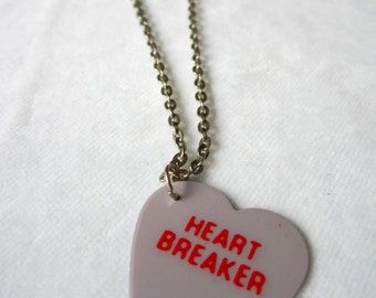 Plectrum Necklace Heart Shaped Guitar Pick Conversation Heart Candy Fairy Kei Nymphet Pastel Goth Sweet Lolita Kawaii Gyaru