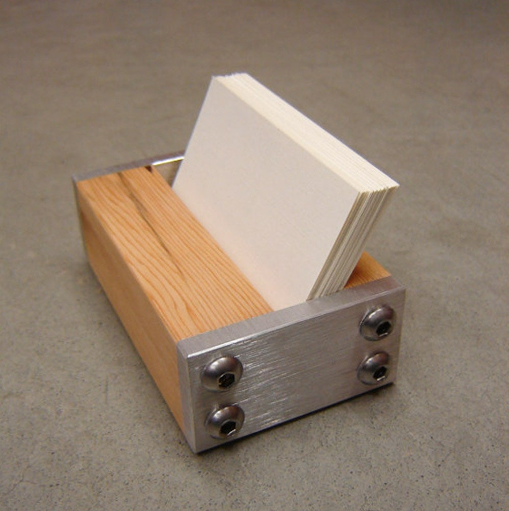 Modern Business Card Holder In Metal And Reclaimed Fir