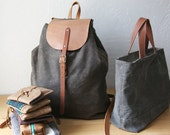 Waxed Canvas Backpack // Knapsack // Day Pack // veg tanned leather, organic cotton lining