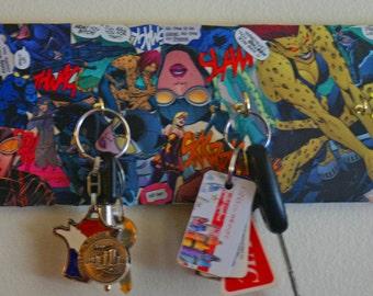 Decoupaged Catwoman Superhero Key Rack DC Comics Hand Decorated 4 Hooks for Keys