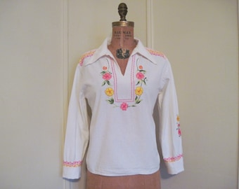 1970s White Mexican Linen Peasant Blouse with hand embroidered pink, yellow, and green flowers - vintage size 38, medium to large