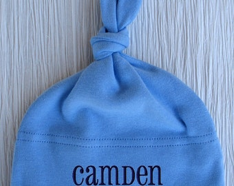 Personalized Baby Hat Monogrammed Name Boy Beanie Cap Knotted Embroidered