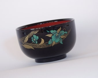 Japanese Black Lacquer Bowl with Aqua Orchids and Gold Accents