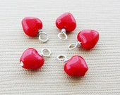 Czech Red Heart Dangles Glass Sterling Silver Wire Pre Wrapped Dangle Accent