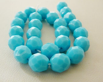 Czech Glass Bead, 8mm Faceted Aqua Turquoise Blue Beads Jewelry supplies