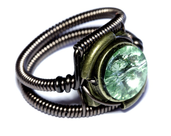 Steampunk Jewelry - Ring - Chrysolite Green Swarovski Crystal