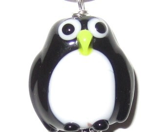 Cute Lampworked Glass Penguin Necklace
