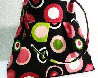 The CHLOE Bag-BUBBLES-Polka Dots Circles-Mod-Funky-Hot Pink Lime Green Black and White-Pleated HOBO Handbag