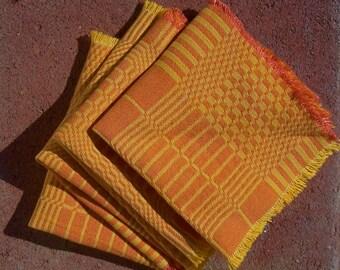 Vintage Mid Mod TANGERINE Napkins LUNCHEOON Plaid Cotton