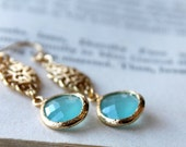 Turquoise Blue, Gold Framed Earrings, Gold Finish, Semi Translucent, Dangle Earrings