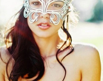 Muse leather mask in white bridal