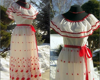 Red & White Formal Party Dress Vintage 70s Sheer Ruffles with Sweetheart Embroidery Vicky Vaughn - Small