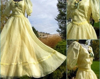 Vintage 40s Gown Party Dress Sheer Embroidered Organdy Pastel Full Skirt Sweetheart XS
