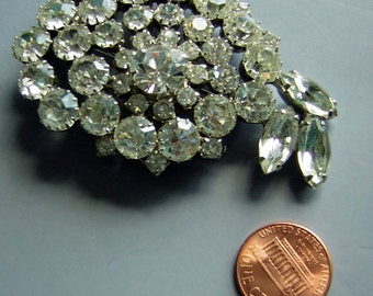 Large Rhinestone Juliana D & E Brooch Pin - Statement Piece Vintage 50s 60s Solid Bling