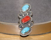 Huge Vintage Native American Silver Ring with Turquoise and Coral