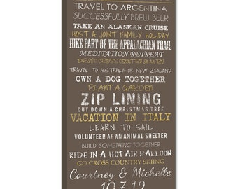 Create Your Bucket List on Canvas, Typography Word art bus roll transit sign 16X32