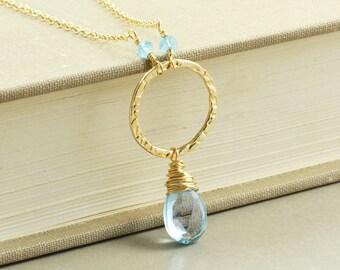 Blue Topaz Necklace, Gemstone Necklace, December Birthstone