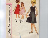 1960s Vintage Girls Sewing Pattern Simplicity 5221 Jumper Dress Blouse Size 6 Breast 24 60s  99