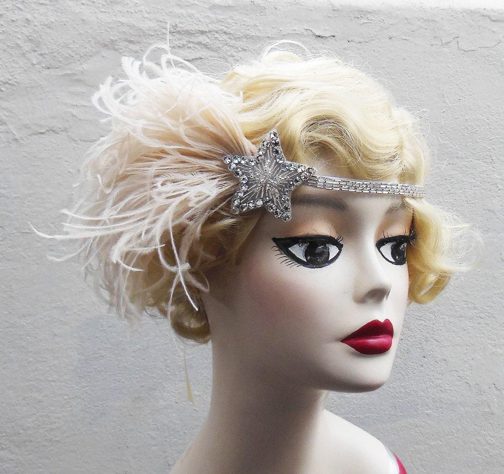 Flapper Headpiece: Silver Beaded Headband 1920s Flapper Headpiece By