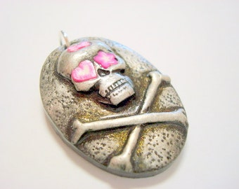 Skull and Crossbones Pendant with Pink Heart, Star, and Bow