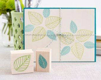 Pretty Leaf Rubber Stamp Set - Striped Leaves Decorate Your Own Invitations Place Cards Decorations Tags Gift Wrap & More