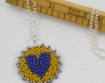 Beadwoven Heart Mandala Necklace ( navy blue / mustard yellow ) - - - Sterling Silver Chain/ Modern/ Contemporary/ Colorful/ Vibrant