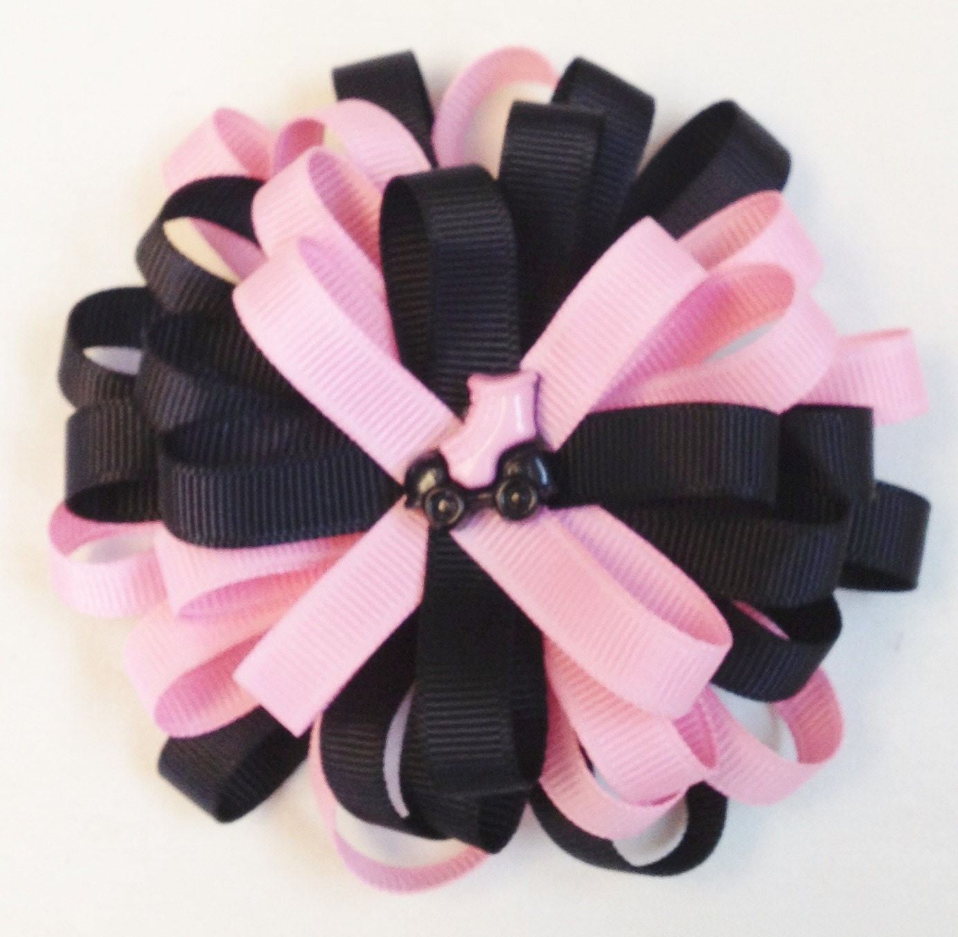 Black Flower Bow With Diamond: Pink And Black Bow Flower Loop Bow Layered Hair Bow Hair