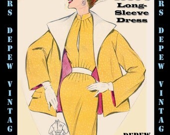 Vintage Sewing Pattern 1950's Day Dress in Any Size - PLUS Size Included - Depew 6460 -INSTANT DOWNLOAD-
