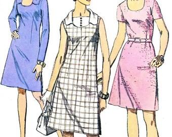 1970s Dress Pattern Simplicity 8782 Mod A Line Dress Vestee Womens Plus Size Vintage Sewing Pattern Bust 40 Uncut