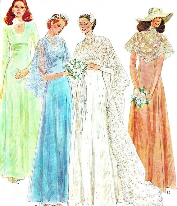 1970s McCalls 6895 Princess Seam Wedding Dress Or Bridesmaid