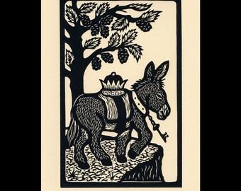 Ass woodcut limited edition Arcanum Bestiarum bestiary print