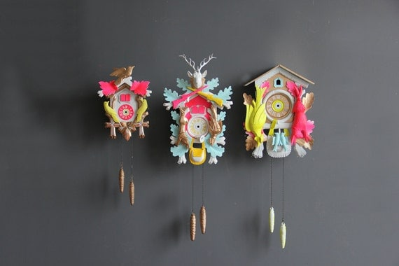 Large Neon Pink & Green Cuckoo Clock. Working Condition