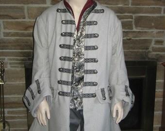 Custom made 4 piece ensemble set Jack Sparrow Renaissance Pirate captain POTC frock coat vest or waistcoat shirt breeches