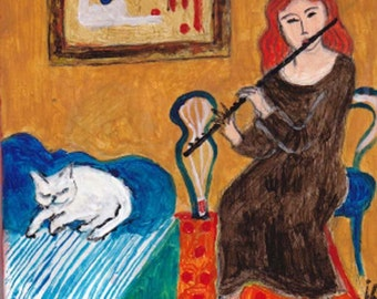 Flute Player and White Cat