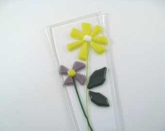 Flower Pot Plant Stake Yellow and Purple Fused Glass Flowers