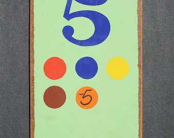 Vintage Number  5  Flashcard Wall Plaque in Mint Green with Coloured Dots