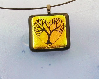 Tree of life - dichroic fused glass jewelry in golds and oranges - tree pendant (3145)