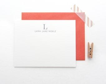 Classic Name & Monogram Stationery - Custom set of 35 note cards