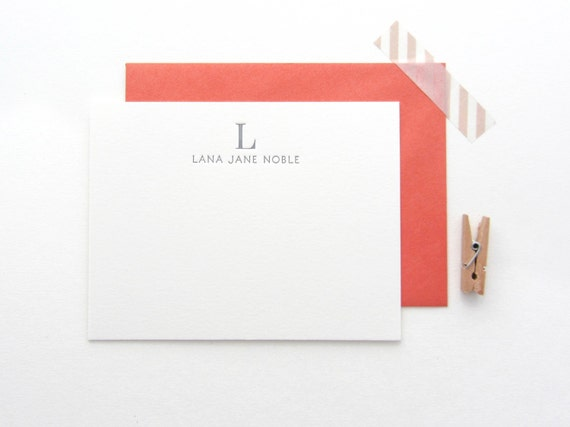 Classic Name & Monogram Stationery - Custom set of 35 note cards