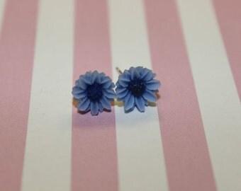 Blue & Navy Flower Earrings